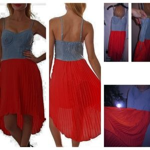 NEW CHARLOTTE RUSSE ACID WASH DENIM/ORANGE DRESS